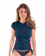 Rash Guard Shortsleeve Women V-Neck Midnight Blue
